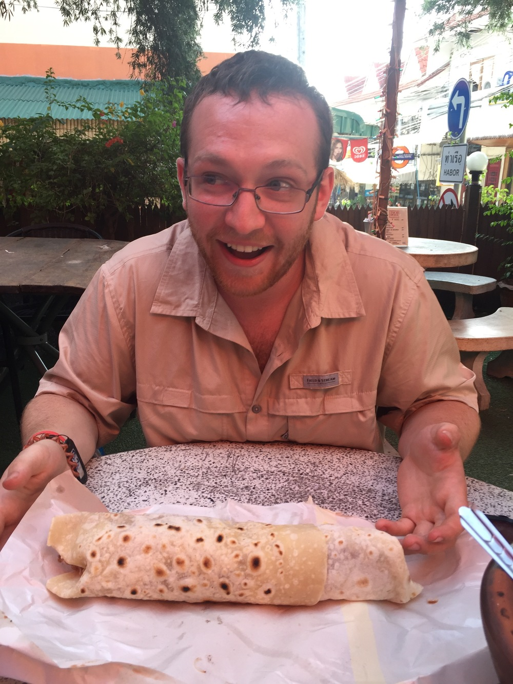 Taco Shack's Mega Burrito. We couldn't believe it was this large.