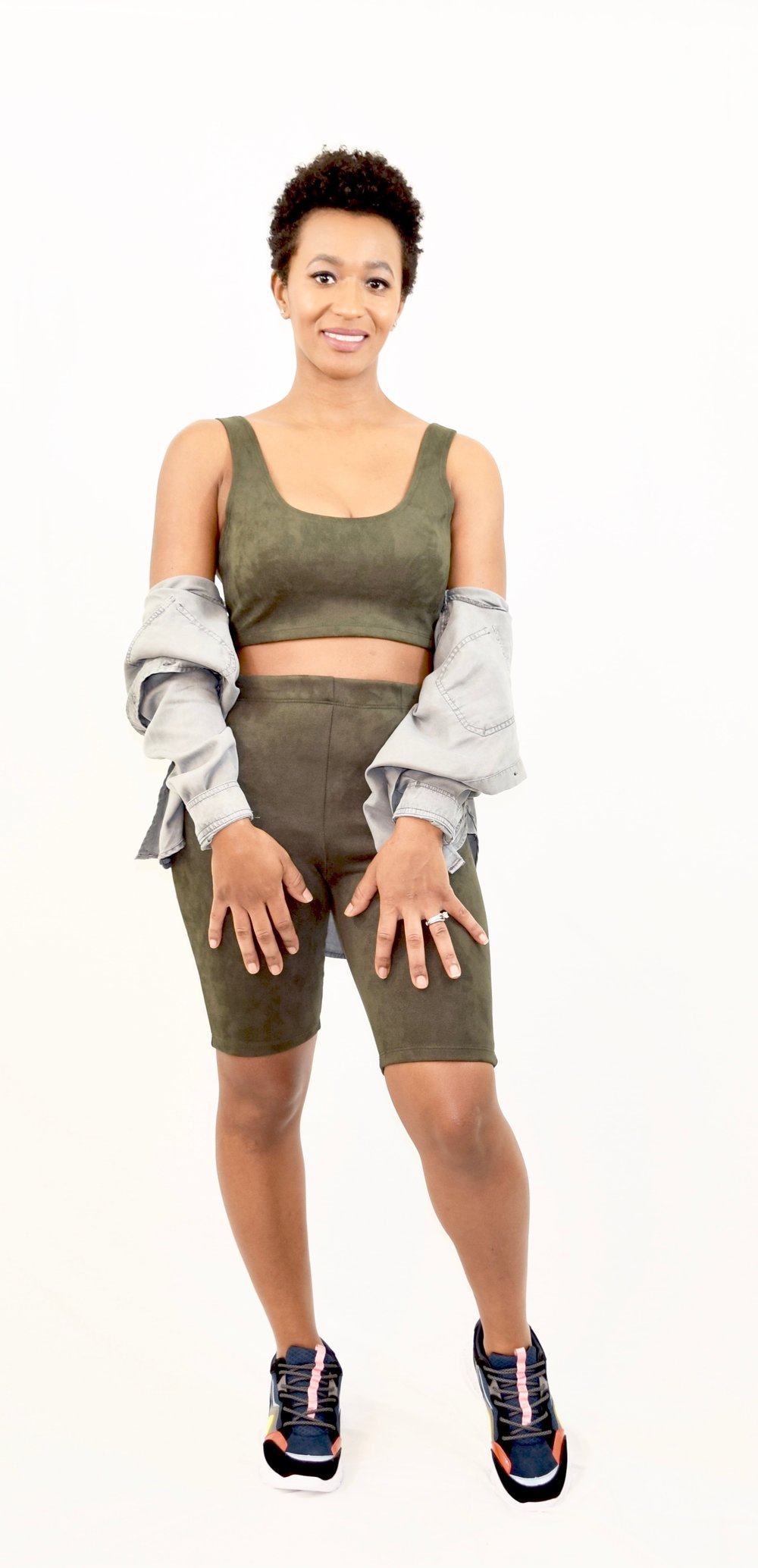 Suede Top and Biker Shorts Set - $29