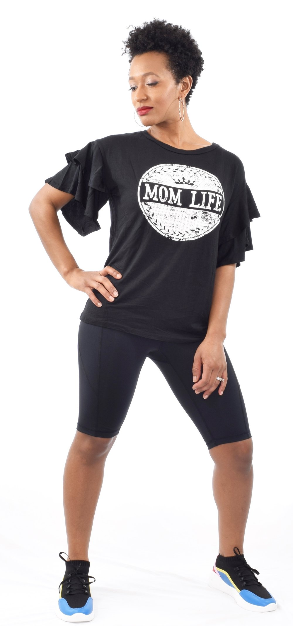 """Mom Life"" Ruffle Sleeve T-Shirt - $15"