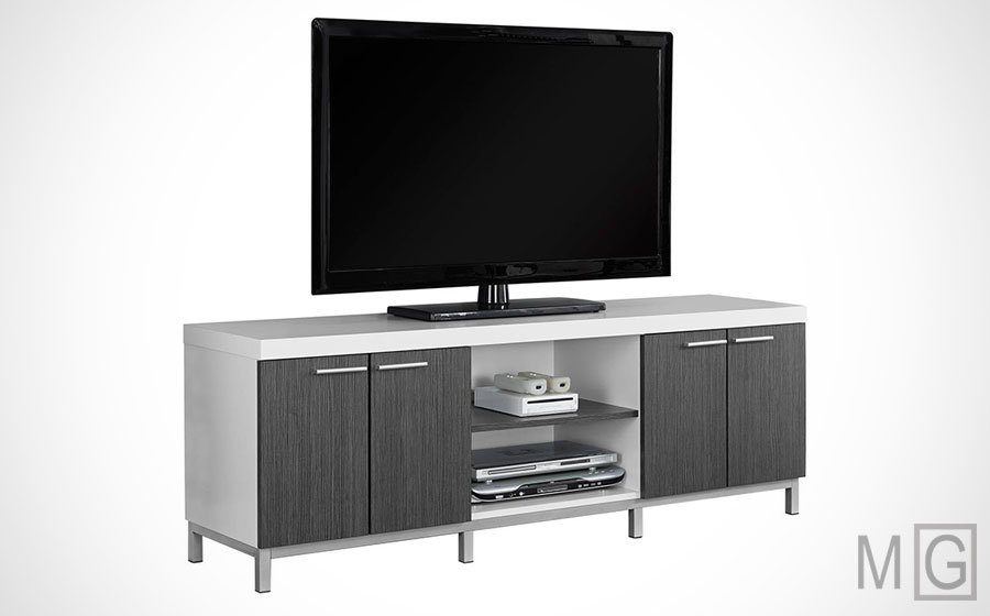Monarch Specialties white gray tv stand - cheap modern tv stands - minimalistguy.net