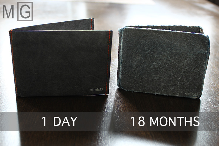A 1 Day old Slimfold Micro Tyvek wallet vs an 18 month old wallet.