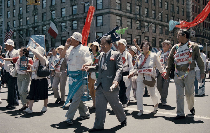 Survivors of the atomic bombings of Hiroshima and Nagasaki by the U.S. were among the marchers.