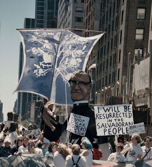Bread and Puppet Theater honoring the slain El Salvadoran priest at the third Special Session on Disarmament march.