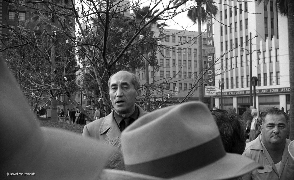 """Irwin Edelman in Pershing Square, Los Angeles, March 1955.  The Nation magazine described him as """"an indefatigable pamphleteer and soapbox orator."""""""