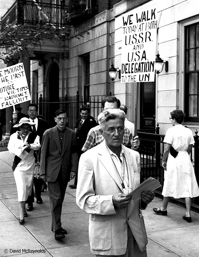 Ammon Hennacy (1893-1970), Hiroshima Day protest, August 6, 1957, New York City. Hennacy was a pacifist, Christian anarchist, social activist, member of the Catholic Worker Movement and a Wobbly.