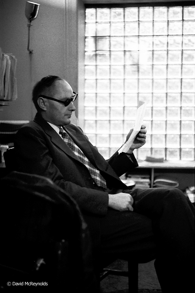 Dave Dellinger at the  Liberation Office at 110 Christopher, NYC. April 1957.