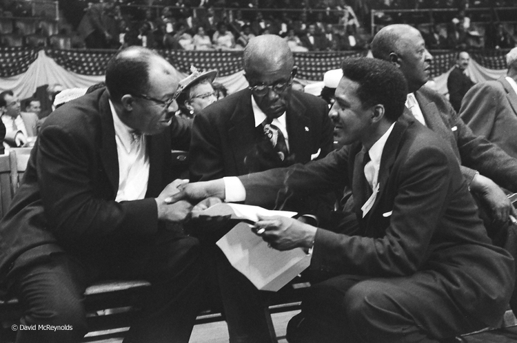 Bayard Rustin was a key organizer of this massive rally, which featured many famous activists and performers. Here Rustin, right, greets keynote speaker Dr.T.R.M Howard.