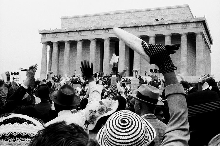 Nearly 25,000 demonstrators gathered at the Lincoln Memorial in Washington, D.C., for a Prayer Pilgrimage for Freedom. May 17, 1957.