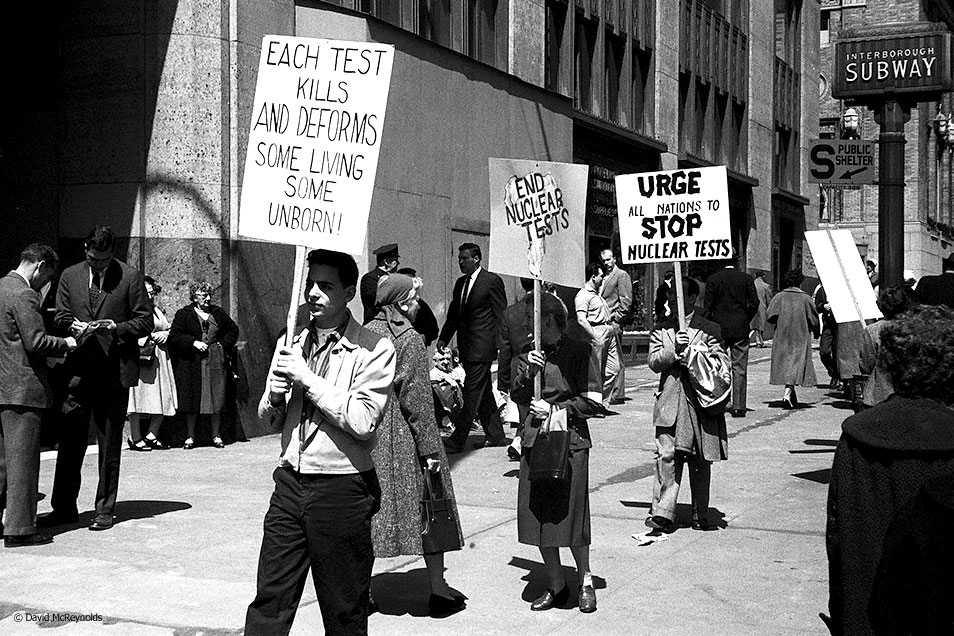 Protesting nuclear bomb tests April 13, 1958.