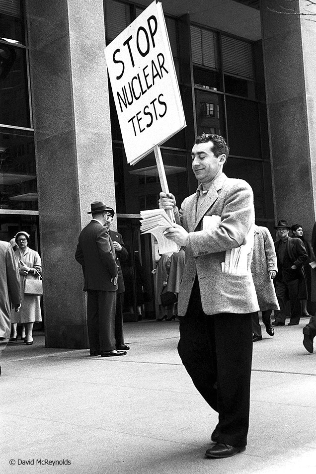 WRL participated with SANE to protest nuclear bomb tests April 13, 1958. WRL staff member Ralph DiGia.