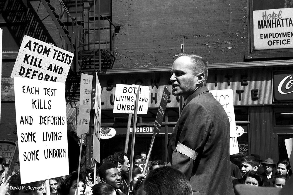 DAVID DELLINGER speaks at a rally during the Walk for Peace. New York City, April 4, 1958.