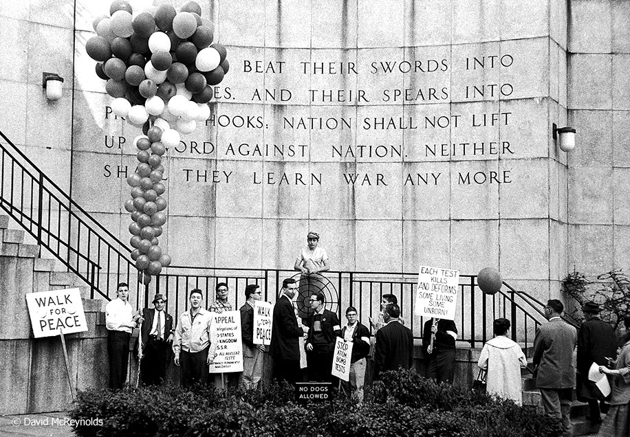 Student Peace Day, May 1958, United Nations, NYC. WRL cosponsored Student Peace Day and Walk for Peace actions with Catholic Worker and other groups.
