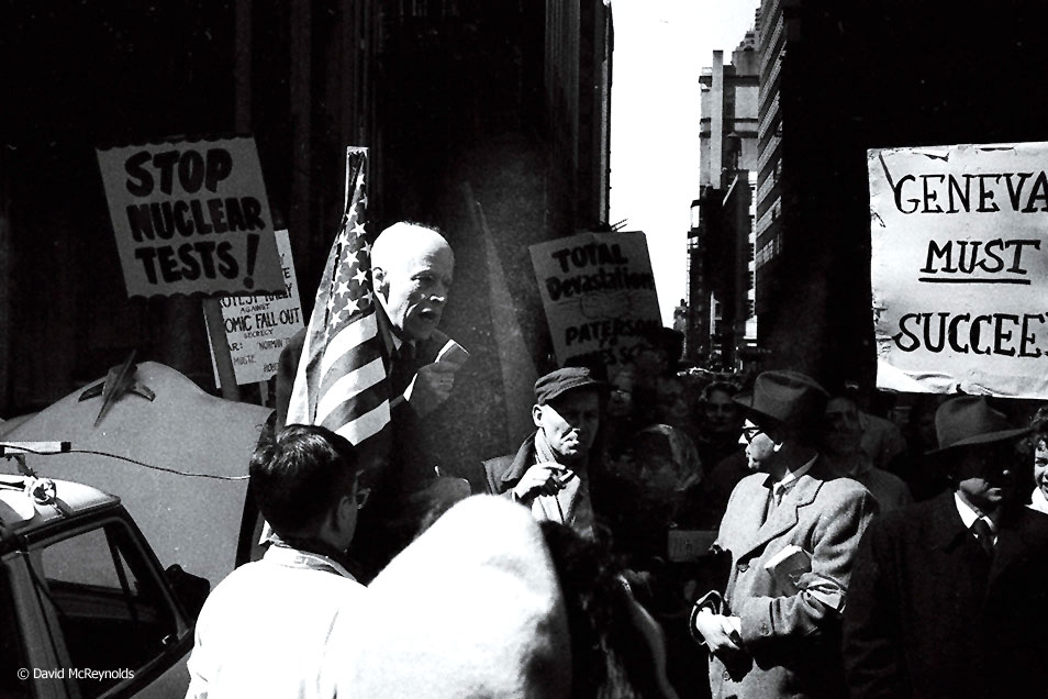 Norman Thomas  speaking at the Times Square rally. NYC, March 28, 1959.
