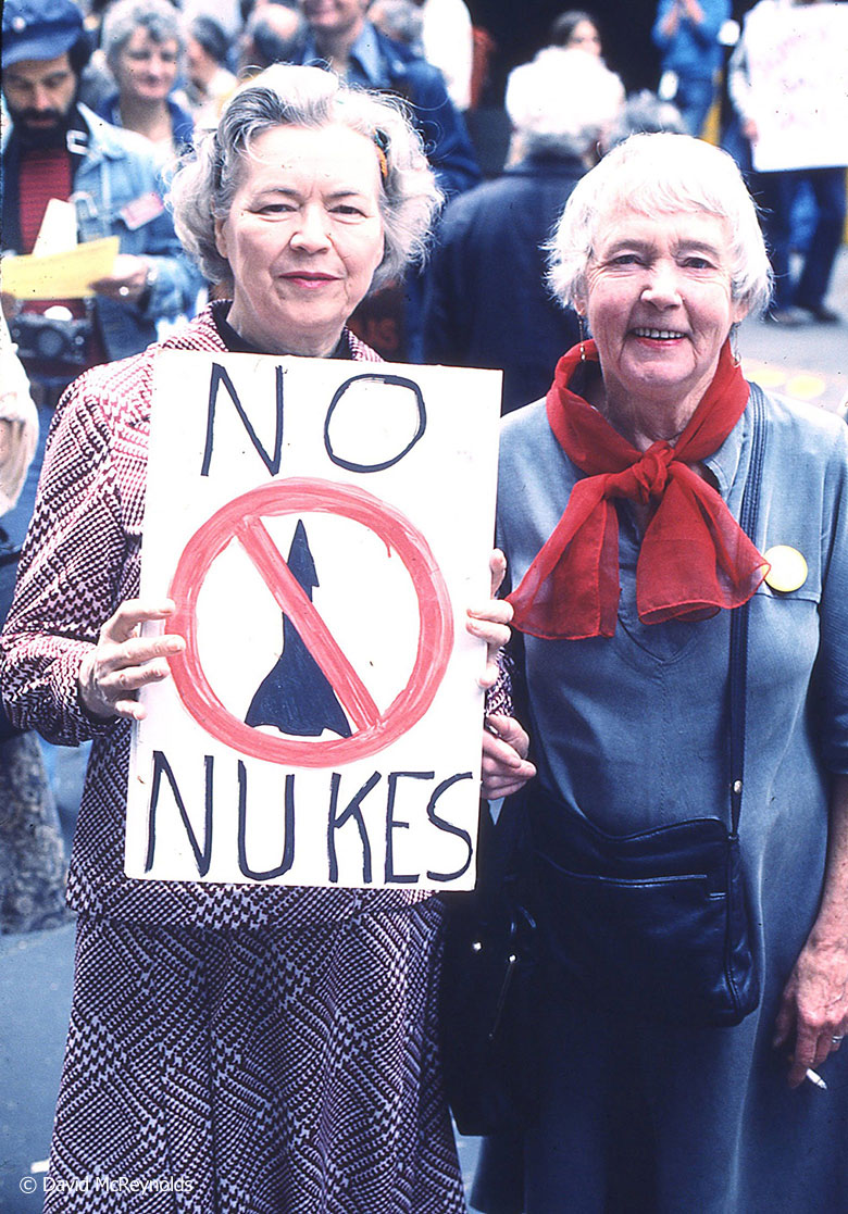 The new coalition Mobilization for Survival sponsored the march and rally at SSD I, on May 27, 1978. Molly Wilson (left) and Virginia Eggleston were active with the Greenwich Village Peace Coalition, and Virginia was a longtime WRL volunteer.