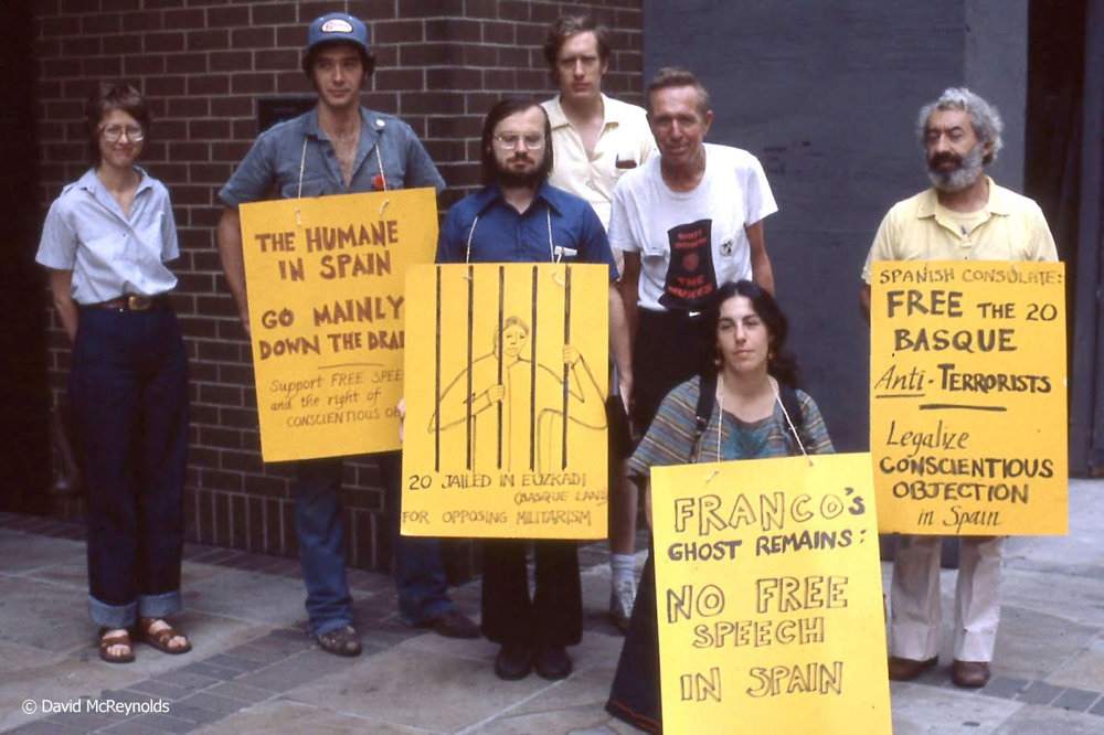 Out at a protest: WRL staff and volunteers: Grace Hedemann, ?, Peter Geidel, Ed Hedemann, Jim Peck, Vicki Rovere, Ralph DiGia - July 1980.