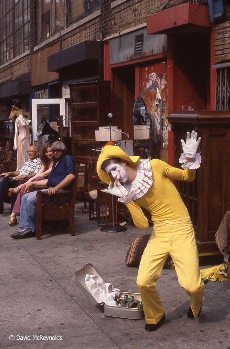 Street clown outside 339 Lafayette, July 1980.