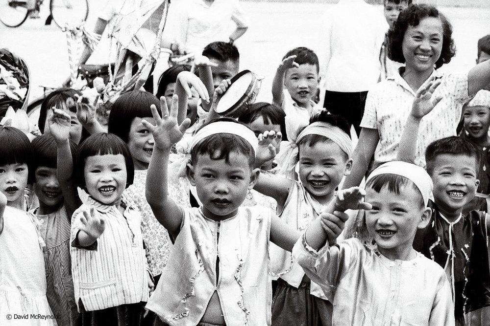 Students at youth rally, Hanoi 1971.