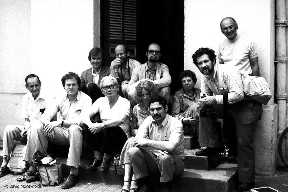 The group visited a hospital in Hanoi, hosted by Dr. Tung, seated middle front. Tour leader Don Luce is leaning in at right, and Jerry Elmer is seated, right front. Photo by unknown photographer with David's camera.