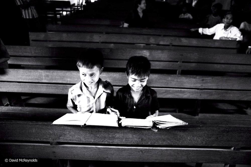 Children in a church, 1981.