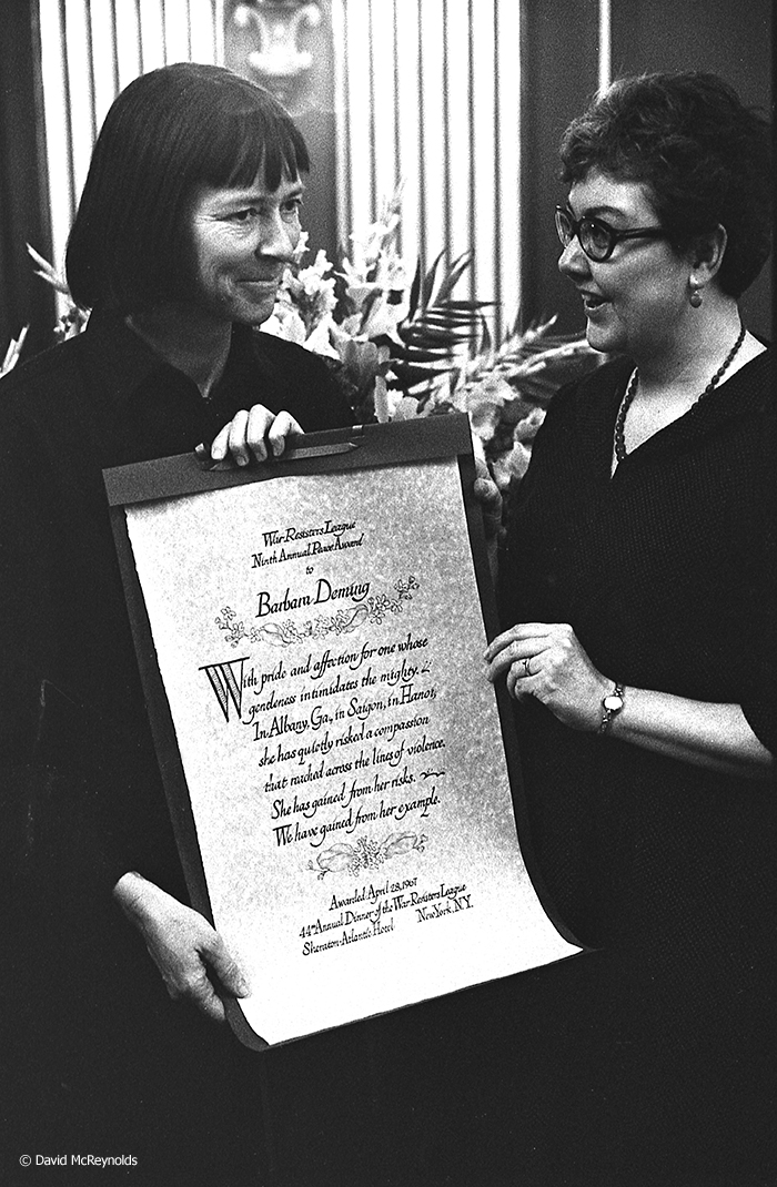 Barbara Deming (left) presented with the 1967 WRL Peace Award by artist and WRL volunteer Janet Toy.