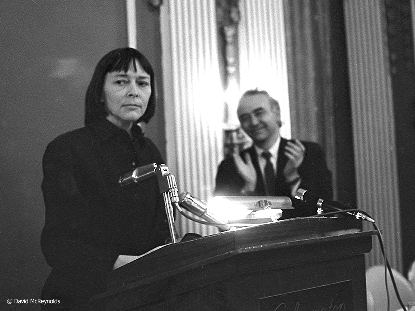 Barbara Deming spoke after being presented with the 1967 WRL Peace Award. Igal Roodenko is in the background.