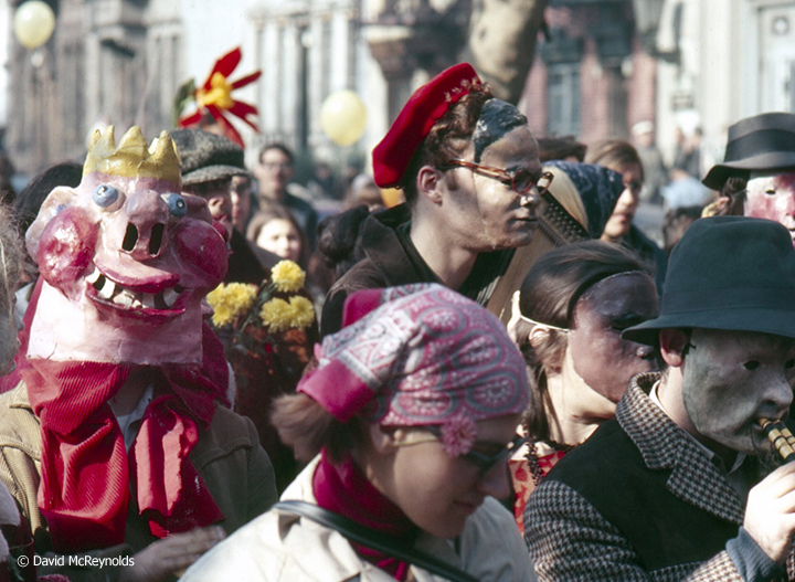 "WIN Yellow Submarine launching march from Tompkins Square Park to Hudson River. ""'Twas a wonderful day, a joyous demonstration for a change, but I don't know what the onlookers made of it,"" remembers participant Barbara Webster. Oct. 22, 1966."