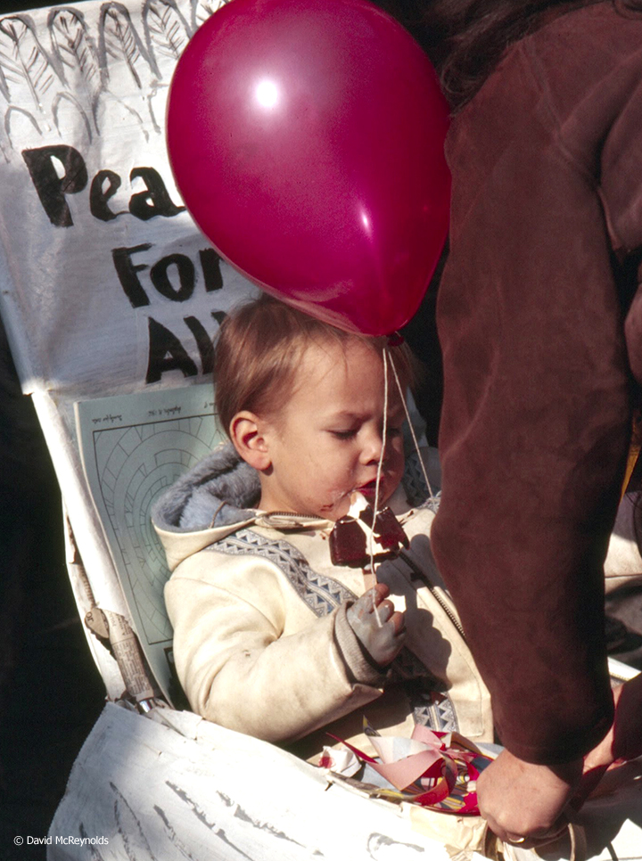 One of the marchers of WIN's Yellow Submarine March in the NYC. Oct. 22, 1966.