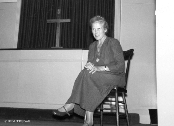 British pacifist Muriel Lester (1885-1968) at a Fellowship of Reconciliation youth conference in Los Angeles. March 1954.  More about Lester.