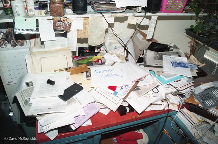 David's desk, April 1995.