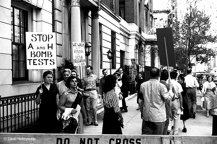 Ammon Hennacy (left near front), Hiroshima Day protest, August 6, 1957, New York City.