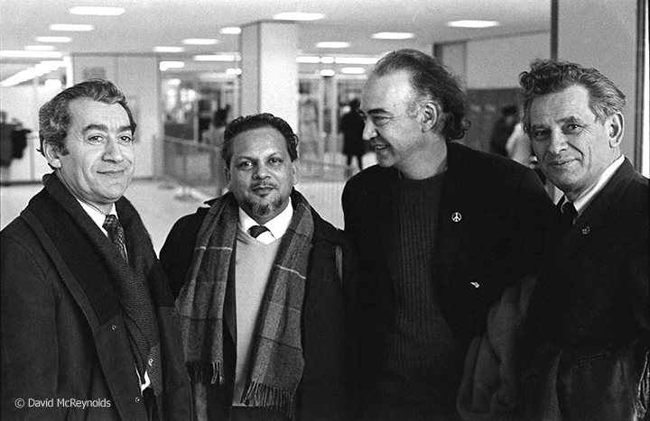 War Resisters' International Secretary Devi Prasad (second from left) at the end of his 2-month U.S. speaking and meeting tour. Seeing him off are WRL staff member Ralph DiGia, Executive Committee member Igal Roodenko, and WRL Chairperson Eddie Gottlieb. April 1967.