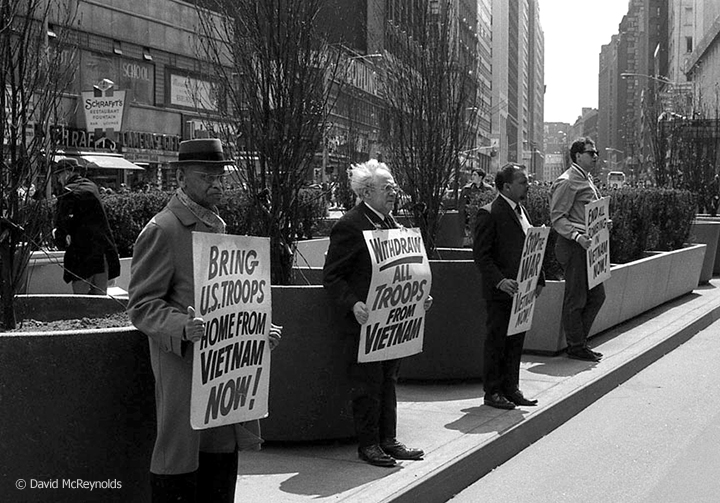 On April 29, 1967, WRI Secretary Devi Prasad (second from right) on the vigil line at Times Square to demand an end to the war in Vietnam. White-haired Otto Nathan, WRL executive committee member, kept the vigil going nearly single-handedly for over ten years.