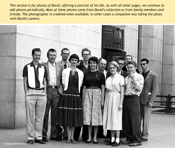 """Recently graduated from UCLA, David was arrested for refusing the Korean War draft. His case was dismissed on a technicality in March 1955 in Los Angeles, and he met his """"Pasadena group"""" supporters outside the court. Men's row, left to right: Rocky Spoelstra, Harry Sittonen, David, Rex Backus, Charles Curtis, Doug Pomeroy, Frank Hamilton (partly hidden), Tom Klopfer. Front: Leora Rundstrom, Kate Collins, Kelly Pomeroy, Hank Maiden."""