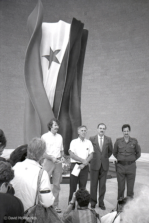 Iraqi veterans of the Iran-Iraq war with U.S. Vietnam veterans who were part of the peace delegation. October 1990