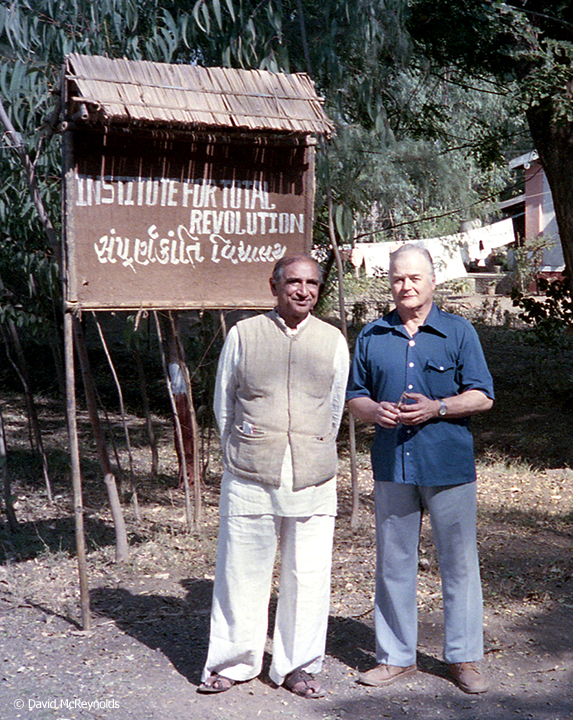 Narayan Desai (1924-2015) hosted the War Resisters' International Triennial conference in India in December 1985. Shown here with with U.S. Quaker nonviolence trainer Charles Walker (1920-2004) at Desai's Institute for Total Revolution in Vedchhi, India.
