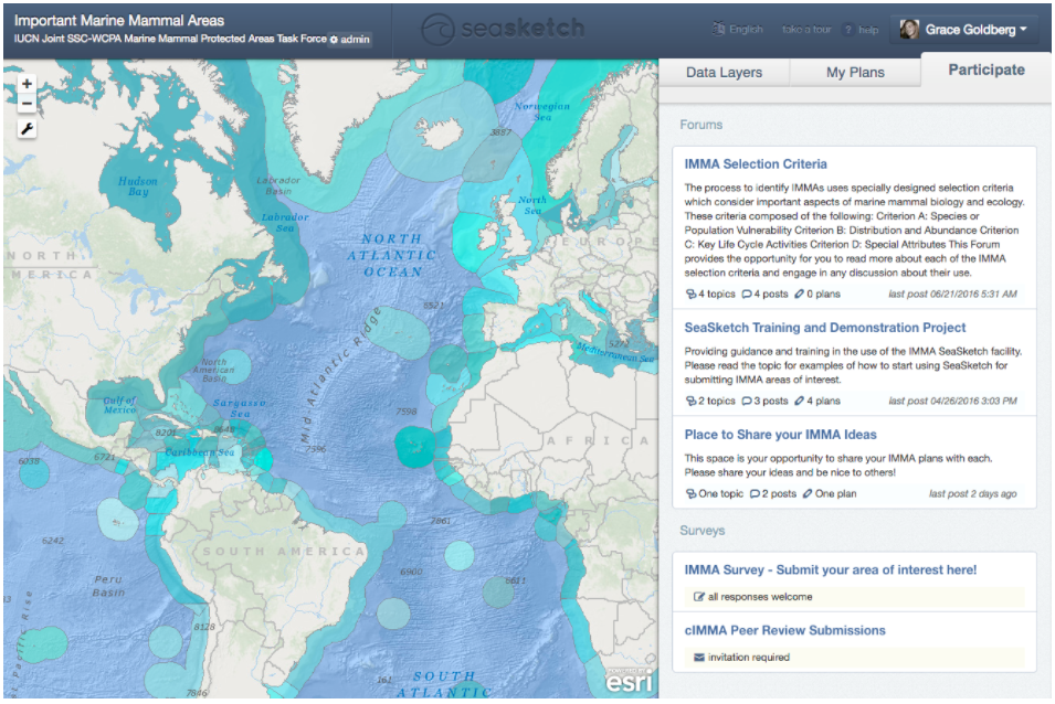 SeaSketch accessible GIS interface (EEZ layer shown), with map-based discussion forums and surveys to support collaborative process.