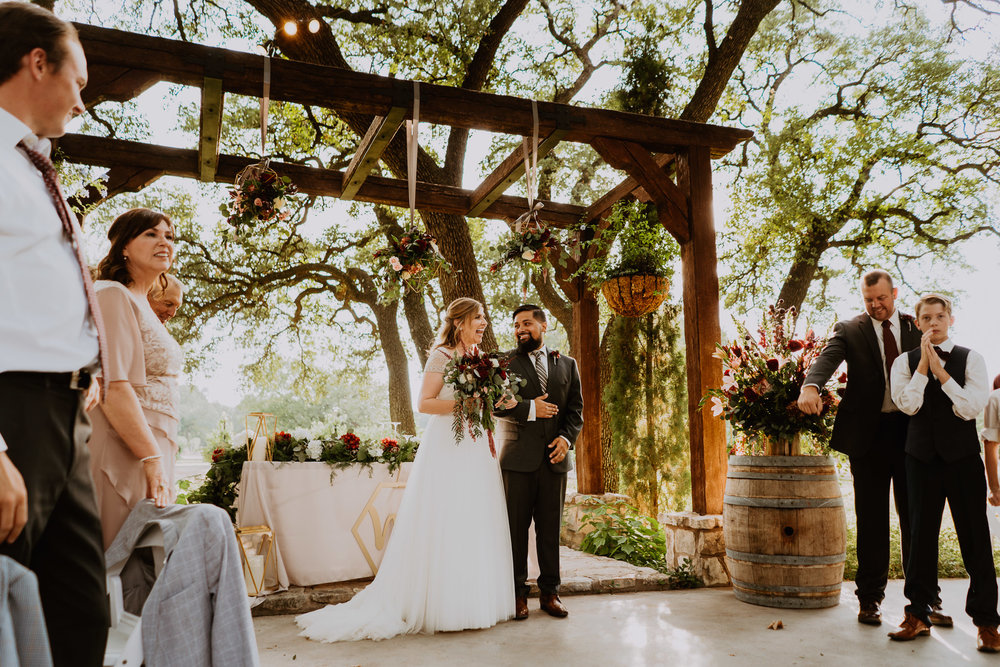 Christoval wedding at the vineyard