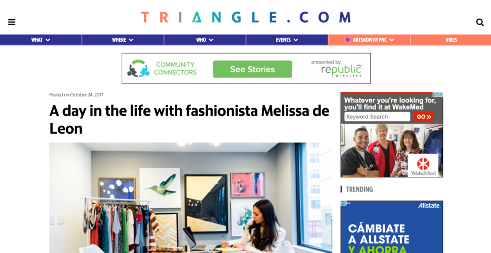 TRIANGLE.COM - LOCAL LEADERS: A DAY IN THE LIFE WITH FASHIONISTA MELISSA DE LEON, OCTOBER 2017