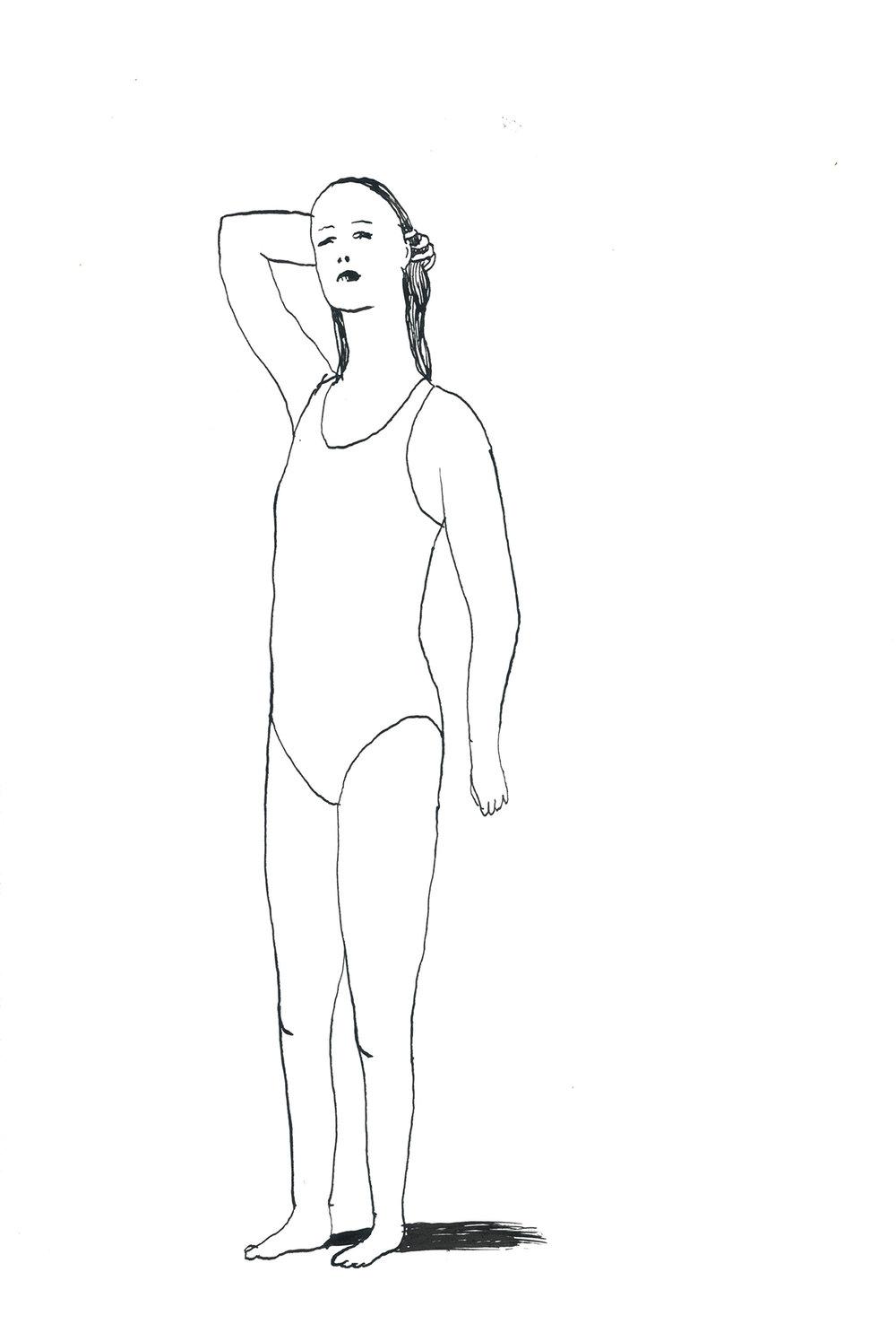 meisje in badpak      | inkt op papier