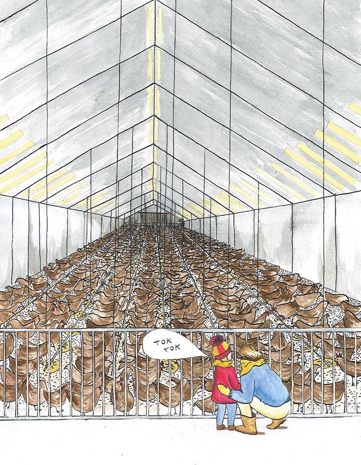 hoofd-illustratie bij artikel  Opvoeden in een vuile wereld  | inkt en waterverf, papiercollage