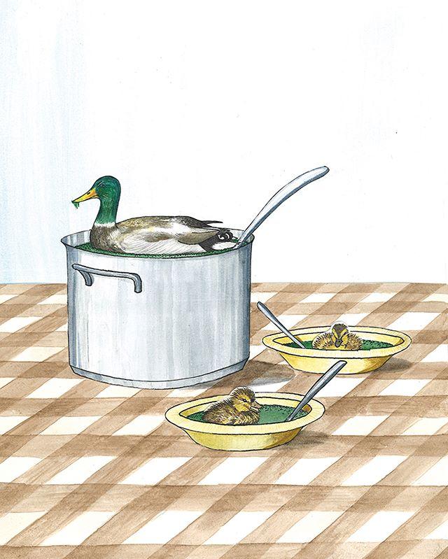 Illustraties ONEworld bij artikel 'De verborgen kracht van slootsmurrie' #eend #eendenkroos #duckface #duurzaamheid #oneworldnl #illustratie #nienkezoetbrood