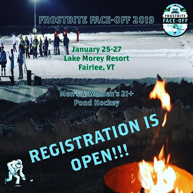 Registration is open! Don't miss out on this year's tournament, and sign up now! •🏒🥅🏒• #frostbitefaceoff #frostbitefaceoff2019 #pondhockey #hockey #icehockey #pondhockeylife #pondhockeytournament #pondhockeyseason #menshockey #womenshockey #womenshockeylife #womenshockeyteam #womenshockeyleague #beerleague #beerleaguehockey #beerleaguetalk #nhl #boston #newengland #newyork #newyorkcity #bostonhockey #bostonbruins #bruinshockey
