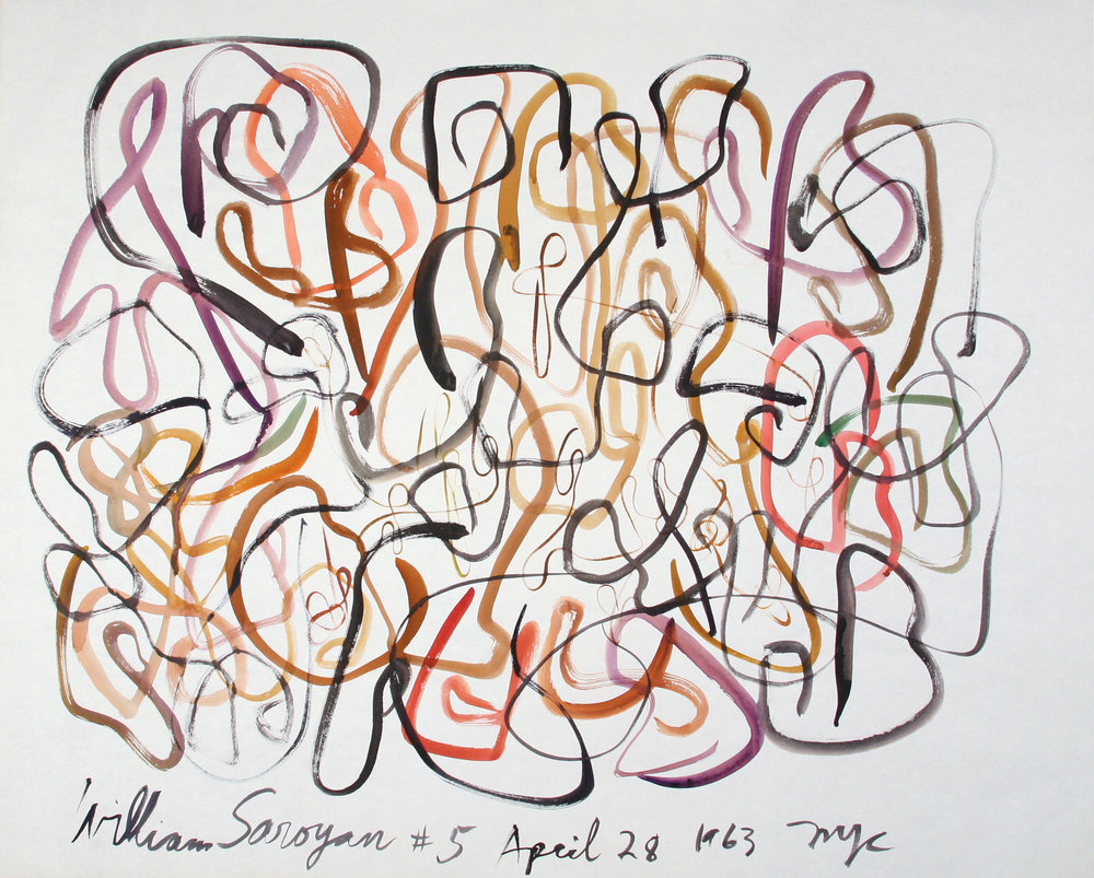 "William Saroyan #5 April 28, 1963 NYC  27.25"" x 34"" Watercolor on paper $5,000"