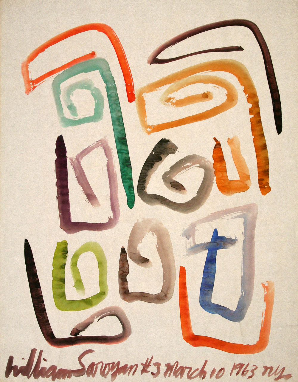 "William Saroyan #3 March 10, 1963 NYC  24"" x 18.5"" Watercolor on paper Sold, $25,000"