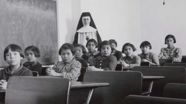 Students at the Cross Lake Indian Residential school. Photo courtesy of cbc.ca