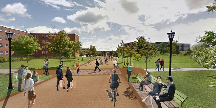 "A visualization of the ""Sticky"" space proposed for outside of lane hall, and near the campus power plant."