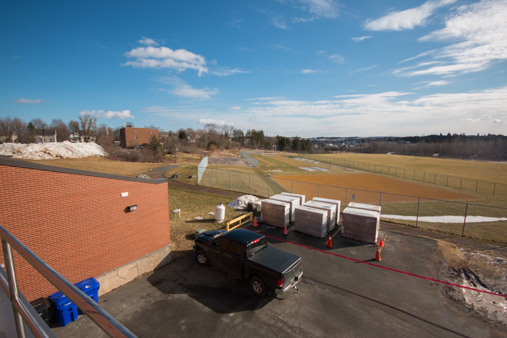 The scene overlooking the soccer and track & field facilities. Prior to their installation, the area was used as field lab space.