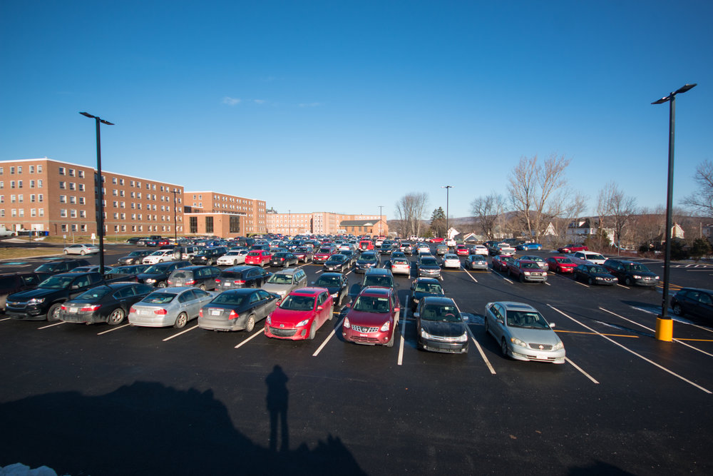 The renovated parking lot behind Lane Hall. The expansion paved over one of the last field lab areas available for use by the biology department.
