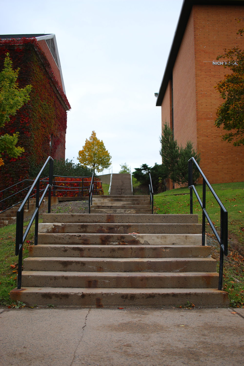 Multiple staircases prevent easy access to upper campus for those with mobility challenges. The construction of the Mulroney Institute will lower the grade of the hill and allow for wheelchair access.