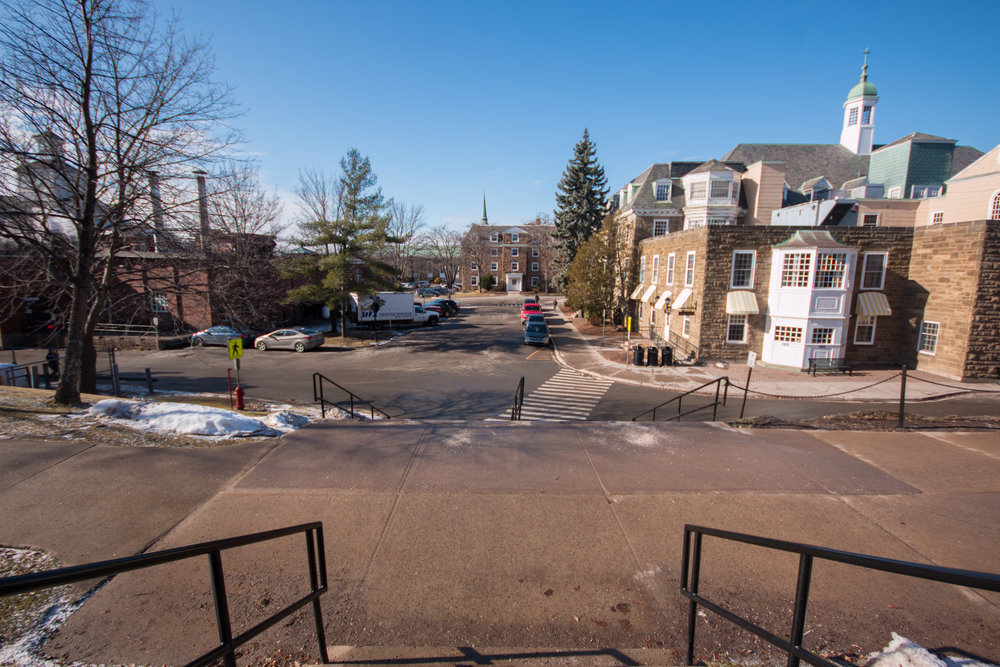 "Plans eventually entail restricting vehicular access and creating a pedestrian ""quad"" in the centre of campus."